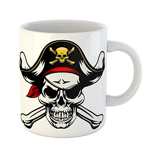 Emvency Coffee Tea Mug Gift 11 Ounces Funny Ceramic Skull and Crossbones Dressed in Pirate Costume Hat Eye Patch Gifts For Family Friends Coworkers Boss Mug -