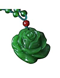 Green Jade Gemstone Rose Flower Beads Chain Pendant Necklace