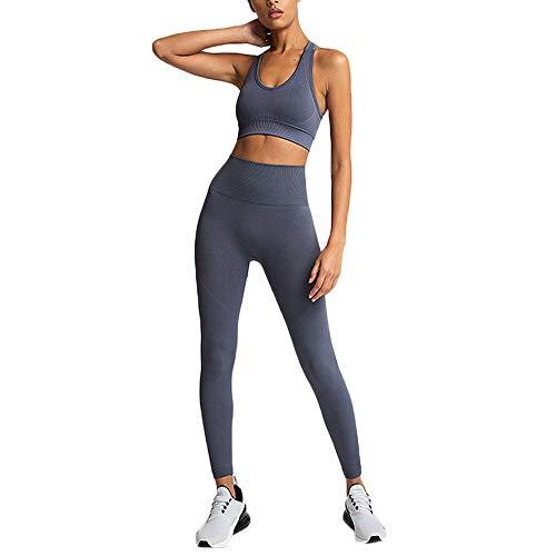 Women Yoga Outfits 2 Piece Workout Sets Casual Sports Bra Suit Crop Tank Top High Waist Shorts Summer Sports Suit
