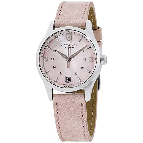 Victorinox Alliance Pink Mother of Pearl Dial Leather Strap Ladies Watch 241663 ()