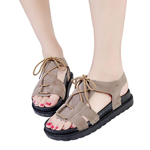 Cooljunk Sommer Frauen Mode Wildleder Einfarbig Farbe Peep Toe Kreuz Gebunden Flache Schuhe Khaki