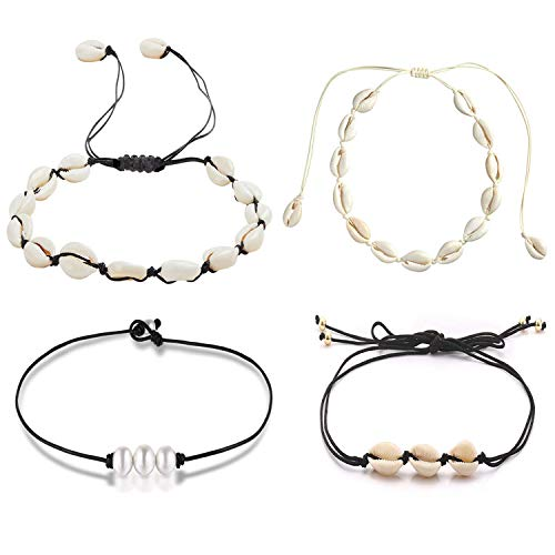 COMMINY 4 Pcs Natural Cowrie Shell Choker Necklace with Pearl for Women Girls, Handmade Adjustable Seashell Collar Necklace Set Hawaii Jewelry for Summer Vacation