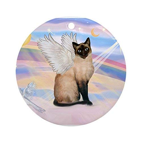 (LilithCroft99 Siamese Cat Angel Novelty Round Christmas Ornaments Keepsake Christmas Tree Decorations Idea)