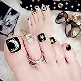 Sethexy Rhinestone 3D Bling Black Fake Toe Nails Moon Star Square Short Full Cover Acrylic 24Pcs False ToeNails Art Tips for Women and Girls