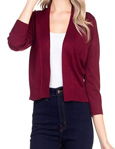 NANAVA Solid Soft 3/4 Sleeve Open Front Cropped Cardigan Burgundy Size S