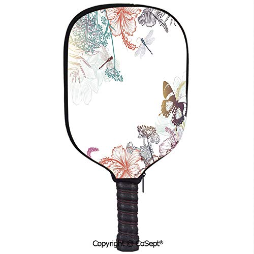 Pickleball Paddle Cover Neoprene Pickleball Racquets Cover Sleeve,Wildflowers Hibiscus Blooms Herbs Fern Artistic Antique Botanical Elegance Design Decorative,Fits Most Rackets(8.26x11.61 inch)Multico (Premium Womens Antique Hibiscus)