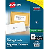 "Avery Address Labels for Copiers, 2-13/16"" x 1-1/2"", White, Rectangle, 2100 Labels, Permanent (45008) Made in Canada for The Canadian Market"