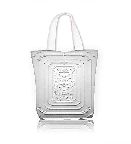 Women's Canvas Tote Bag ative item made of white plaster on relief stucco interior work school Shoulder Bag W12xH14xD4.7 INCH