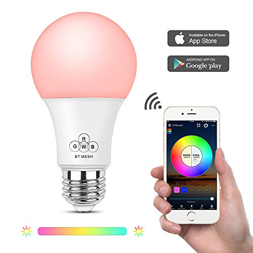 Magic Hue Bluetooth Mesh Multicolor Light Bulbs, No Hub Required, Suitable for Household Lighting (Hub Required for Working with Alexa and Google Assistant, Hub Will be Ready Soon and Sold Separately)