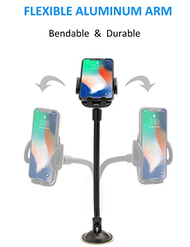 EXSHOW Car Mount,Universal Windshield Dashboard 8.5 inch Long Arm Car Phone Mount for iPhone X/8/7/6S/6 Plus/5S/5, Samsung Galaxy S6 S5, Nexus 5X/6P, LG, HTC and All Smartphones 3.5-6 inch(Black) by EXSHOW (Image #5)