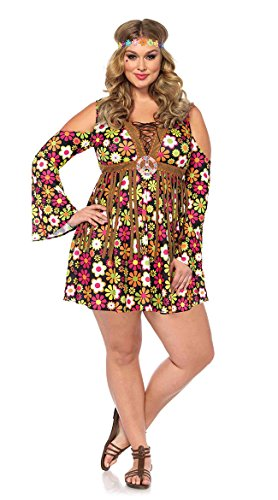 Leg Avenue Women's Plus Size Groovy Hippie 60s Costume, Multi 1X / 2X ()