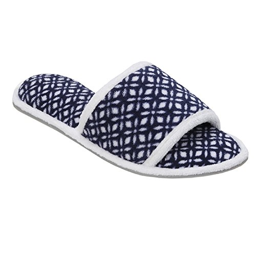 White Printed Terry Navy Slide 51707 Dearfoams pXdqwZX