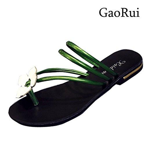 Gaorui Women Summer Slippers Flip Flops Flat Sandals Beach Thong Shoes Casual Sandles Green