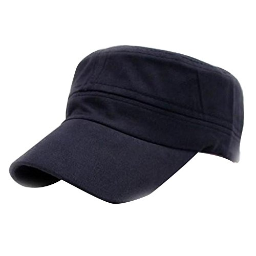 iLXHD Classic Plain Vintage Army Military Cadet Style Cotton Caps Adjustable Hat Visors Navy