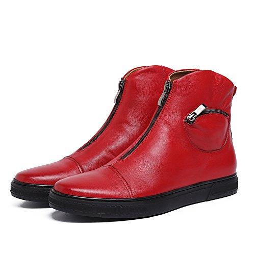 Shoes Leather Red Santimon Men's Sneaker Causal Fashion Zip p8nOwqfC