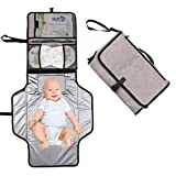 Hommie Baby Nappy Changing Mat, Portable Waterproof Foldable Infant Urinal Pad Baby Changing Kit with Head Cushion Net Pockets for Home Travel