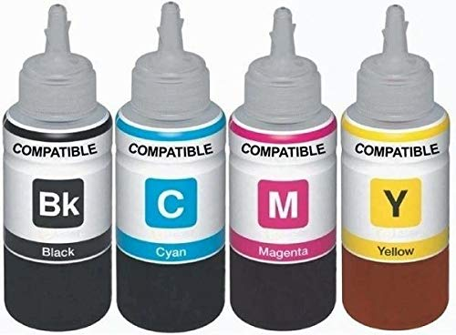 Dubam Refill Ink for Use in HP DeskJet 1112 Printer   Cyan, Magenta, Yellow   Black   100 ML Each Bottle.