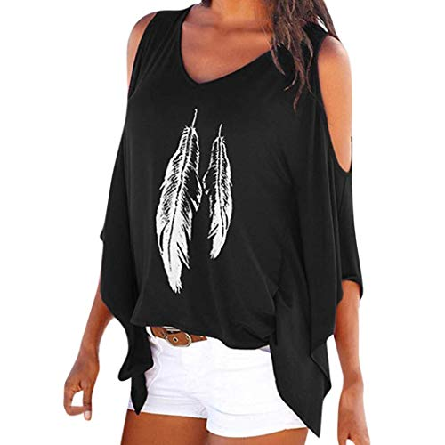 Rambling New Women's Cold Shoulder Tops Feather Print Oversized Batwing Short Sleeve T Shirts by Rambling