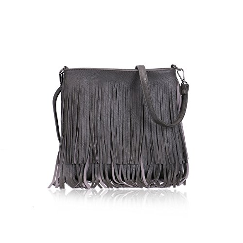 Dark Faux Handbag Body Women's Cross Shoulder Tassel Fringe Grey Bag Leather Chic Ladies G003 7xwqnd4pZp