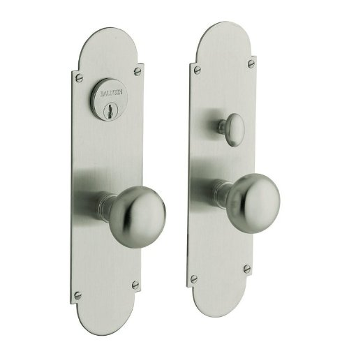 (Baldwin 6555.ENTR Boston Single Cylinder Mortise Handleset Trim Set, Satin Nickel)
