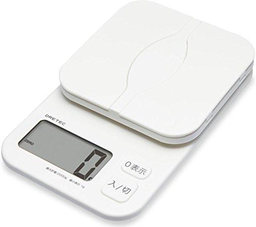 dretec(드레텍) 주방 키친 전자저울 스케일 디지탈 계량명이 열린 파 컷 2kg/1g단위(외관)겉포장의 중량당김 KS-257WT(화이트)