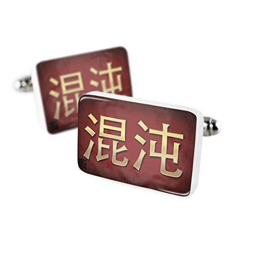 Cufflinks Chaos Chinese characters, letter red / yellow Porcelain Ceramic (Chaos Cufflinks)