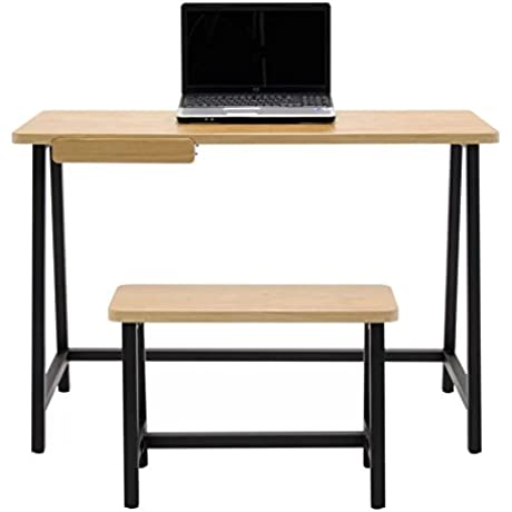 30 25 Home Office Writing Desk With Slide Out Drawer Bench Set In Oak Black