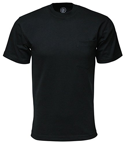 Enkalda Men's Max Premium Heavyweight Short Sleeve Pocket T-Shirt 8oz XL Black (Heavy Duty Cotton T Shirts With Pocket)