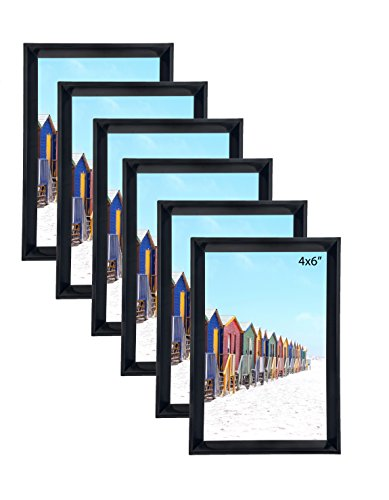 Glossy PVC Plastic Black Picture Frame 4X6 inch Photo Displa