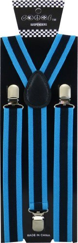 JTC Belt Great Quality Unisex Suspenders Striped Blue