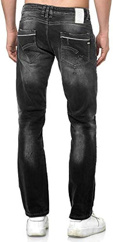 Rusty Neal męskie dżinsy Designer Ruben Front Listwa z guzikami Stretch Denim Black Used White Washed 40: Odzież