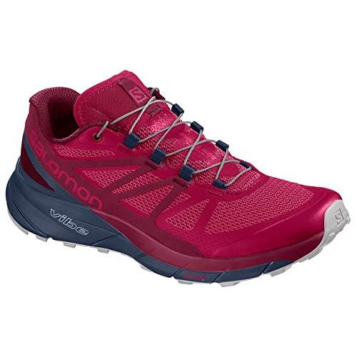 Salomon Women's Sense Ride Running Trail Shoes Cerise/Navy Blazer/Vapor Blue 6