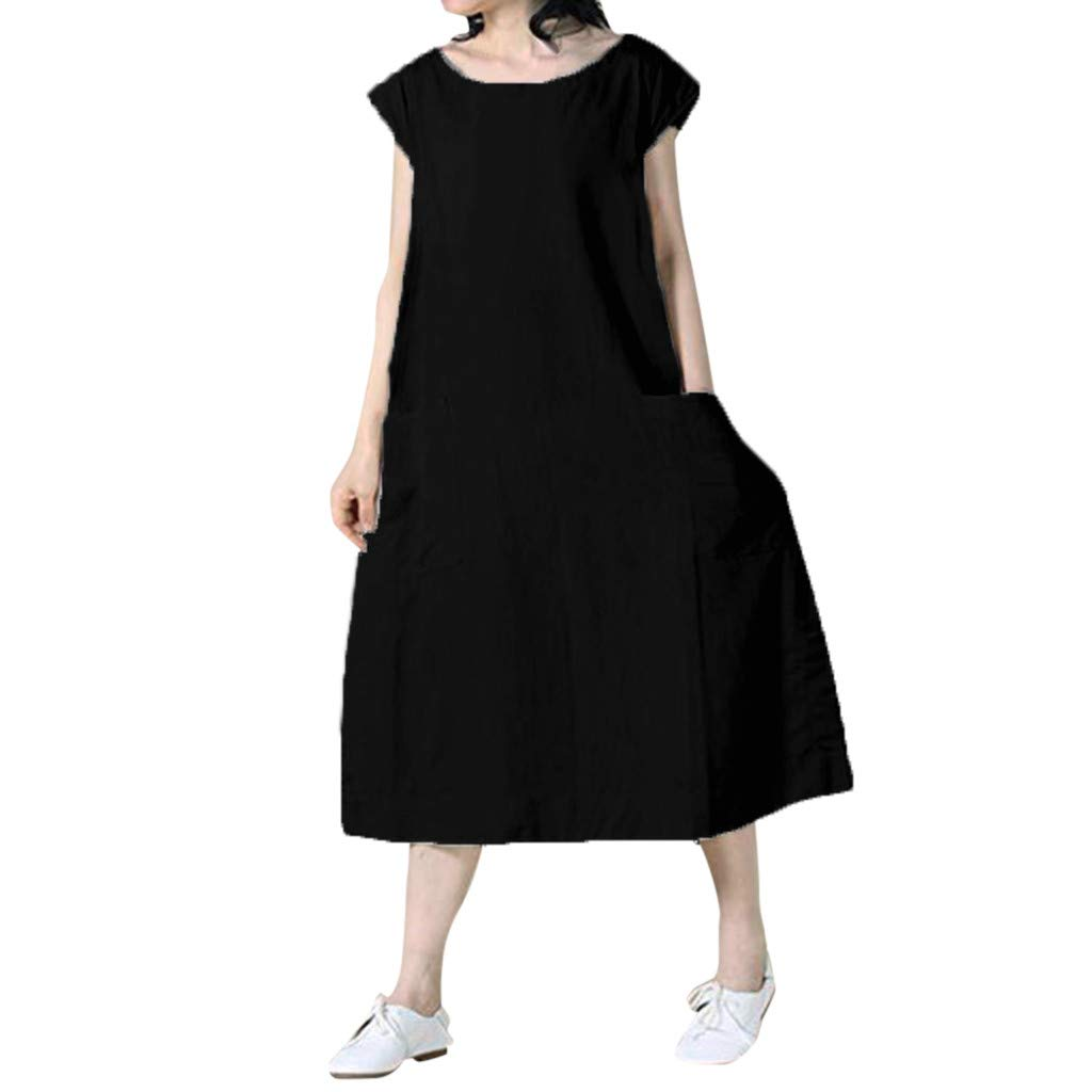 ZOMUSAR Fashion Women's Sexy Summer Casual Solid Short Sleeve O-Neck Easy Beach Dress for Ladies Black