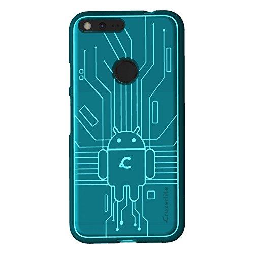 (Cruzerlite Google Pixel XL Case, Bug Droid Circuit TPU Case for Google Pixel XL - Retail Packaging - Teal)