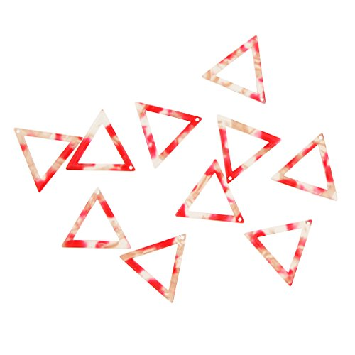 - Homyl 10pcs Fancy Color Hollow Out Acetate Acrylic Triangle Pendant DIY Earrings Jewelry Findings Connectors - Red