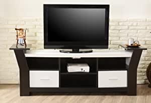 ioHOMES Torena Multi-Storage TV Stand, Black and White