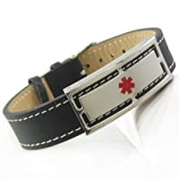 My Identity Doctor Genuine Leather Medical Alert Bracelet with Free Engraving