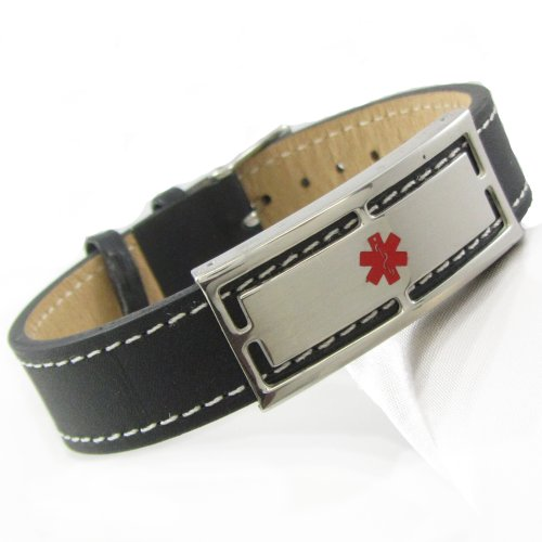 "My Identity Doctor Pre-Engraved & Customized Cancer Patient Black Leather Medical ID Bracelet, Wrist Sz: 7""-8.25"""