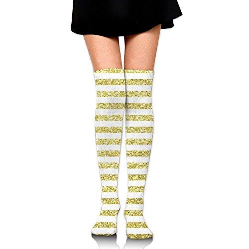 Anklet Soccer (RobotDayUpUP Golden Glitter Striped Womens Long Socks,cool Girls Skirt Stockings Knee Thigh Socks For Running Soccer Sports Dance Yoga Cycling Hiking Outdoor)