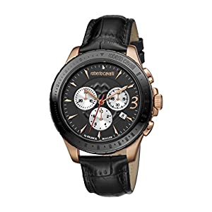 Roberto Cavalli by Franck Muller (PU5E5) Men's 'ROUND Chrono' Quartz Stainless Steel and Leather Casual Watch, Color:Black (Model: RV1G014L0056)
