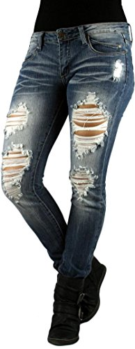 MACHINE JEAN Faded Destroyed Distressed Ripped Skinny Light Wash Denim Jeans - Waist 1
