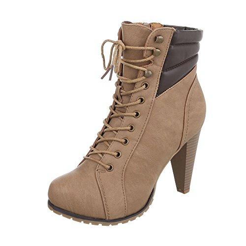 Zapatos para mujer Botas Tac—n de aguja Botines de tac—n Ital-Design Hellbraun B2805-PB