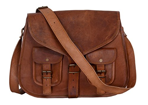 Price comparison product image KPL 14 Inch Leather Purse Women Shoulder Bag Crossbody Satchel Ladies Tote Travel Diaper Purse Genuine Leather