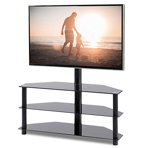 - Rfiver Black Corner Floor TV Stand with Swivel Mount Bracket for 32 to 65 inch LED, LCD, OLED and Plasma Flat/Curved Screen TVs, 3-Tier Tempered Glass Shelves for Audio Video TW2002