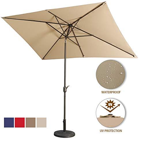 Aok Garden Outdoor Market Umbrella,10x6.5 Feet Square Patio Umbrella with Push Button Tilt and Crank Lift Ventilation,8 Sturdy Ribs Non-Fading Sunshade,Sand