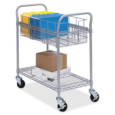 (Safco 5236GR Wire Mail Cart, 600lbs, 18-3/4w x 39d x 38-1/2h, Metallic Gray)