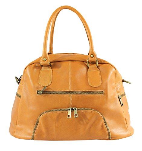 cuir à en Sac OH MY BAG Cognac souple femme main TpwZB