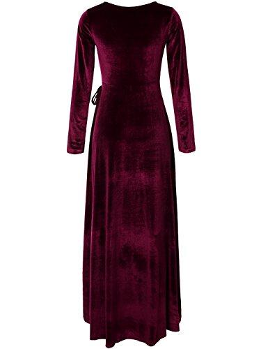 Women Caged Vintage Maxi Retro Jwdl509qs Party Dress with Long JayJay burgundy Neck Pocket Velvet TdqFRFSw