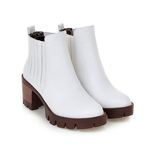 Mesh Heels Band Boots Ladies Elastic Closed Chunky Toe White Platform Legging xpwnq70