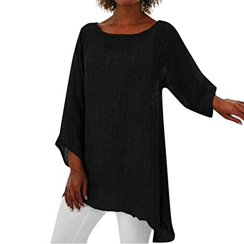 Women Plus Size Tops Long Sleeve Linen Baggy Blouse Shirt Ladies Summer Tunic (Best Cream For Dry Under Eyes)
